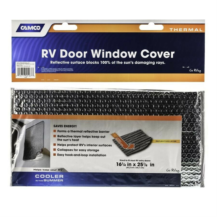 45167 Helps Protect Your RV from Harmful UV Rays and Regulates RV Temperature 16 x 25 Camco SunShield Reflective Door Window Cover