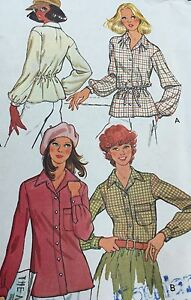 McCall-039-s-Sewing-Pattern-6219-Blouse-Elastic-Tie-Waist-Button-Front-Size-16