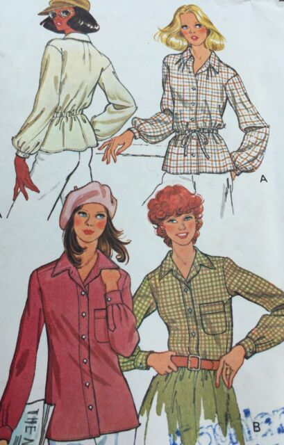 McCalls Sewing Pattern 6219 Blouse Elastic Tie Waist Button Front Size 16
