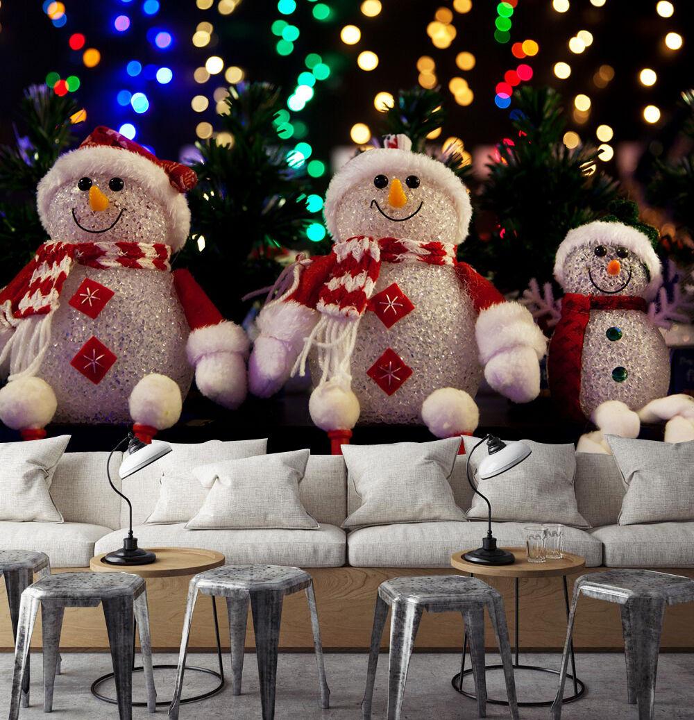 3D Weihnachten Schneemann -Spielzeug  Fototapeten Wandbild BildTapete Familie DE