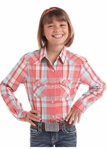 Panhandle Girls Long Sleeve Pink and Teal Plaid Western Shirt
