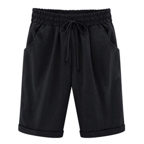 Womens Solid Beach Bermuda Capri Shorts Loose Casual Summer Crop Pants Trousers