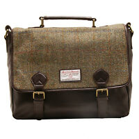 The British Bag Company - Green Check Harris Tweed Hunter Messenger Bag
