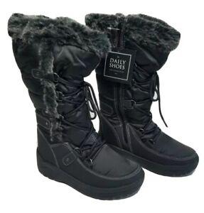 Daily-Shoes-Alaska-01-Fur-Warm-Black-Winter-Boots-Water-Resistant-Women-Size-7-5