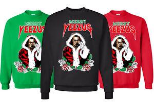 image is loading merry yeezus ugly christmas sweater santa kanye west