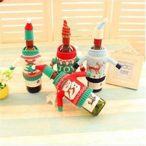 ddffc5b2362 La foto se está cargando Set-of-2-Ugly-Christmas-Sweater-Wine-Bottle-