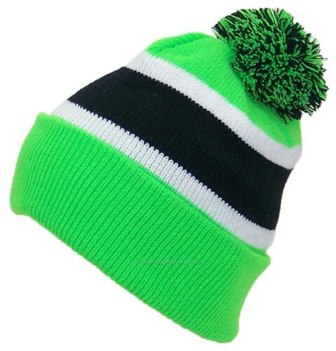 Best Winter Hats Quality Cuffed Cap W//Large Pom Pom Beanie #851 Neon Green//Black