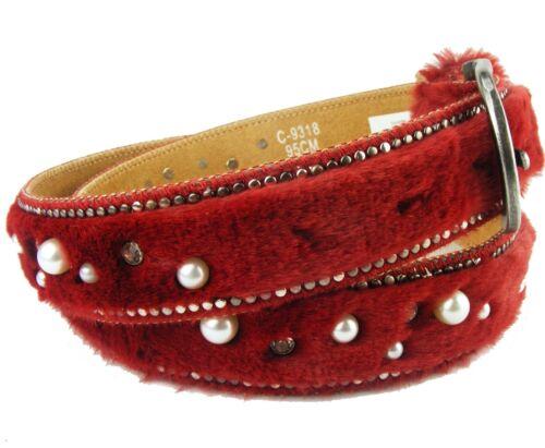 Cintura Donna UNI cintura pelliccia cintura glitzergürtel camel nero rosso peluche ba4