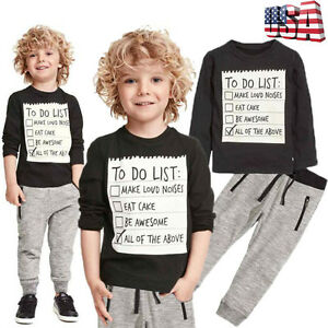 Toddler Kids Baby Boy Blouse T-shirt Tops + Long Pants Tracksuit Outfits Clothes