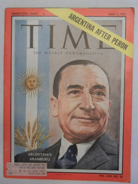 TIME Magazine June 3, 1957 Argentina's Aramburu on cover