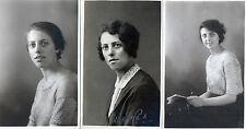 Lot Of 3 Antique Original Woman Postcards - 1925, (RP)