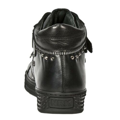 New Rock 7934 S1 Metallic Black Leather Buckle West Steel Heel Shoes Boot