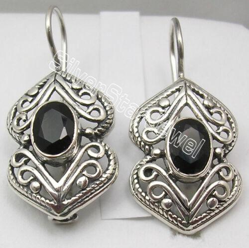 """Forme Ovale Noir Onyx 925 Solide Argent Sterling Pierres précieuses boucles d/'oreilles 1 1//8/"""""""