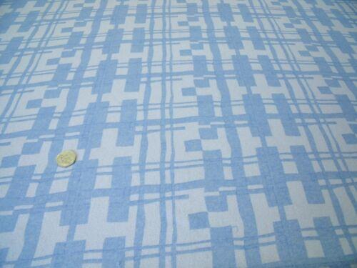 GEOMETRIC-IVORY//BLUE DRESS FABRIC-FREE P/&P PRINTED STRETCH CREPE  MESH