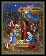 In Bethlehem Fabric Panel Christmas Nativity Gold Metallic Premium Cotton