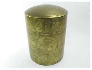 Antique-Trench-Art-brass-shell-tobacco-box-engraved-Middle-Eastern-decoration
