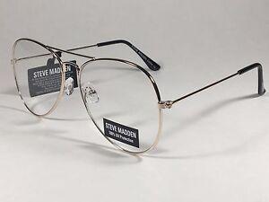 cd1e84577d New Steve Madden Aviator Sunglasses Pale Gold Tone Metal Clear Lens ...