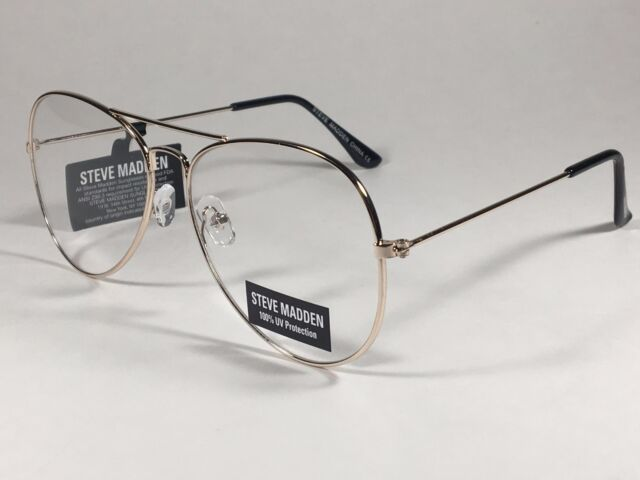 15b407e3f7d New Steve Madden Aviator Sunglasses Pale Gold Tone Metal Clear Lens SM482101