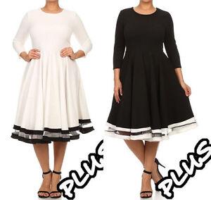 Plus-Size-Black-White-Fit-Flare-Skater-Dress-Mesh-Stripe-Full-Sweep-Skirt