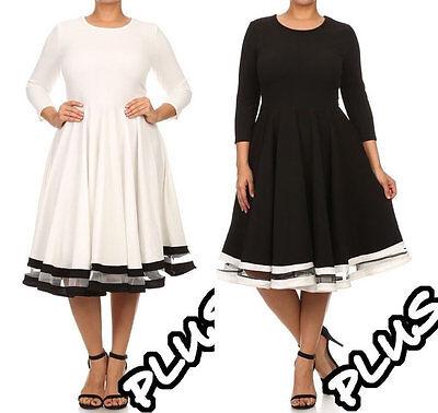 Plus Size Black White Fit Flare Skater Dress Mesh Stripe Full Sweep Skirt    eBay