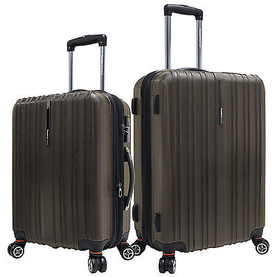 """Tasmania 2pc Brown 21""""/25"""" Polycarbonate Spinner Expandable Suitcase Luggage Set"""