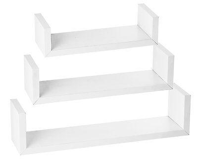 Halter Wall Shelves - Set of 3 U Shaped Floating Shelves - White
