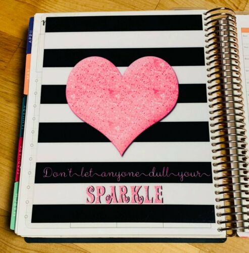 Black//White Stripe Heart Two Sided Dashboard for use with Erin Condren Planner