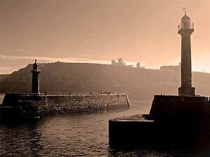 CULTURAL-INDUSTRIAL-LANDSCAPE-WHITBY-LIGHTHOUSE-SEPIA-RUIN-ABBEY-POSTER-BB675A