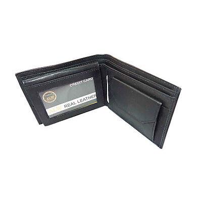 Original Leather Money Wallet Purse for Men Gents with Card Slots - Black