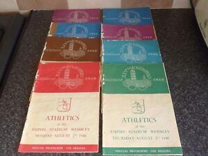 8x-VINTAGE-1948-OLYMPIAD-XIVTH-LONDON-OLYMPIC-GAMES-ATHLETICS-PROGRAMMES