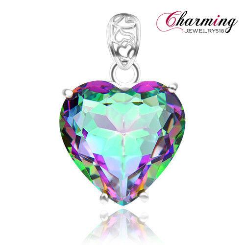 Romantic Love Heart Rainbow Fire Mystical Topaz Gems Silver Pendant As Xmas Gift