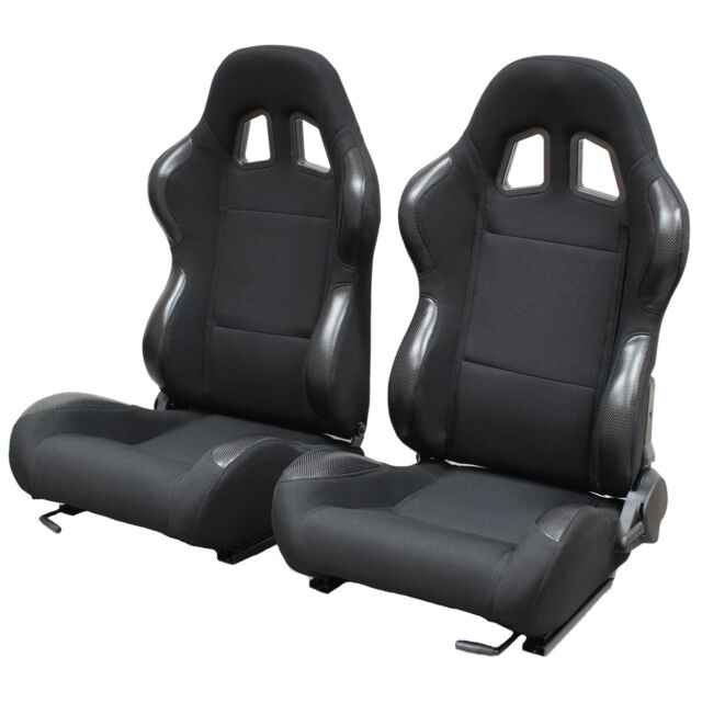 BLACK RECLINING BUCKET CAR SEATS FOR HONDA CIVIC INCLUDING TYPE R