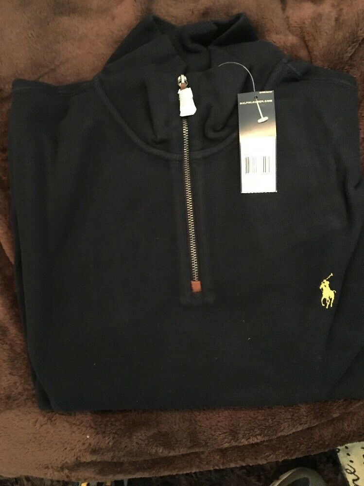 Polo Ralph Lauren Cotton Pullover French Rib Sweater 1/2 Zip Hunter Navy Men XXL