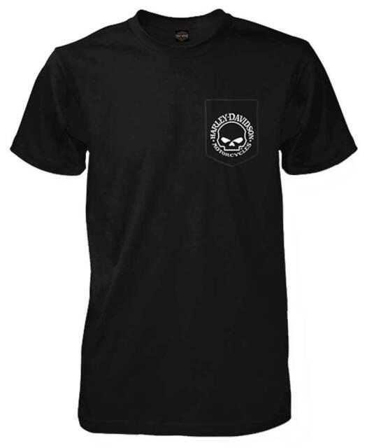 Harley-Davidson Men's Willie G Skull Chest Pocket Short Sleeve T-Shirt, Black