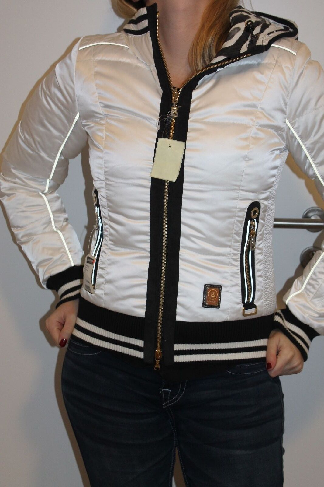 BOGNER DONNA SCI reversibile giacca blu bianco nero taglia 34 XS