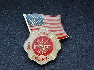VINTAGE-METAL-PIN-USA-AMERICAN-FLAG-FIRE-DEPARTMENT