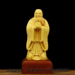 "5.5/"" Chinese Box-wood Hand Carved Taoists Confucius Kongzi Sage Stand Statue圣人孔子"