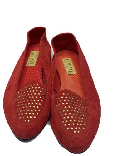 Loafers Slip ON Flat Shoes Vintage Unisa Red Gold