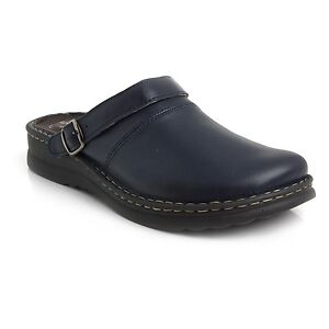 3801d3a38eac Batz ZORAN 5-Zones Navy Blue Mens Leather Slip On Mules Clogs ...
