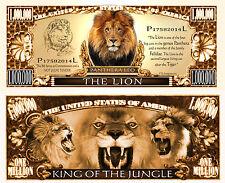 Le LION BILLET 1 MILLION DOLLAR US! COLLECTION Animal Animaux Afrique Félin