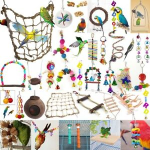 Jouet-Suspendue-pour-oiseau-perroquet-perruche-balancoire-corde-echelle-bois