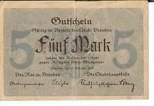 Alemania Notgeld Dresde 5 Mark 31.12.1918 F-Serie C