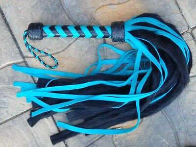 NEW Light Blue Black Turquoise Leather Turquoise Fur Whisper Flogger