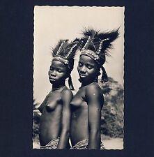Africa PETITE NUDE DANCERS / NACKTE TÄNZERINNEN KOPFPUTZ * Vintage 50s Photo PC