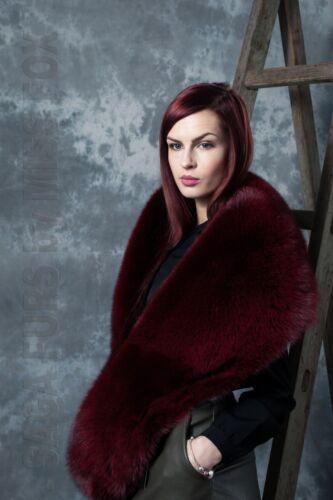 Scandinavian burgundy fox fur X-Large collar//stole