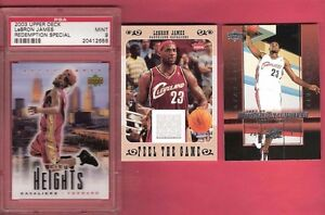 LEBRON-JAMES-SPECIAL-ROOKIE-CARD-PSA-MINT-9-amp-GAME-USED-JERSEY-amp-UD-RC-EXCLUSIVE