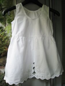 Robe Fond De Robe Anc Broderie Anglaise Coton Blanc Embroidered Party Dress Ebay