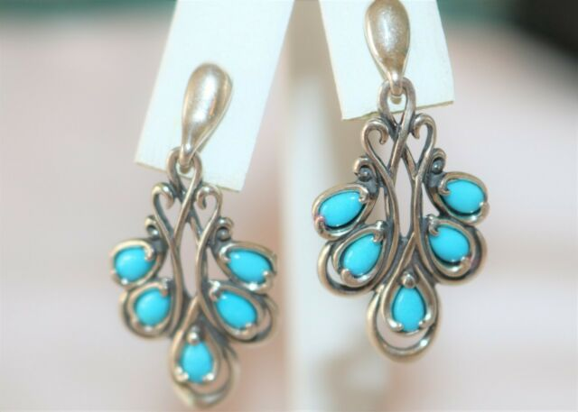 American West Sterling Silver Sleeping Beauty Turquoise Drop Earrings