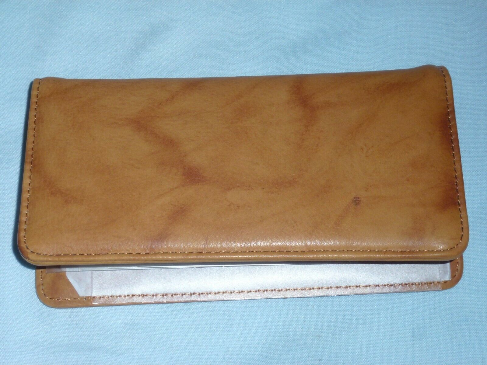 Genuine Leather Checkbook by RICO very soft leather NEW brown+