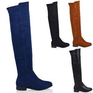 Ladies-Flat-Over-The-Knee-High-Zip-Womens-Winter-Biker-Riding-Thigh-High-Boots